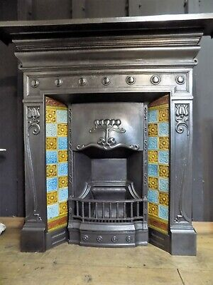 cast iron fireplace, antique, victorian, edwardian, art nouveau