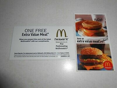 Lot of 5 Mcdonalds Combo Meal Cards