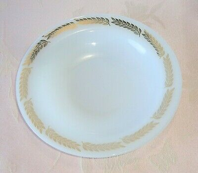 "Vintage Federal Rimmed Milk Glass Soup Bowl 8"" Gold Wheat Laurel FEG23"