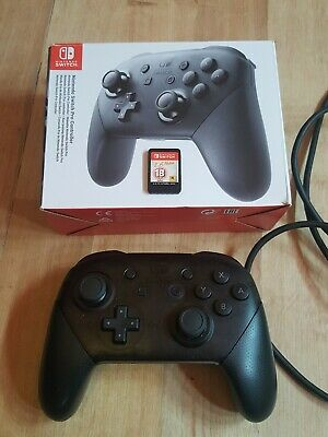 Official Nintendo Switch Wireless Pro Controller (Black) with free switch game