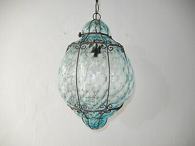 ~1950 Mid Century Seguso Light Blue Aqua Blown Murano Glass Lantern Chandelier~