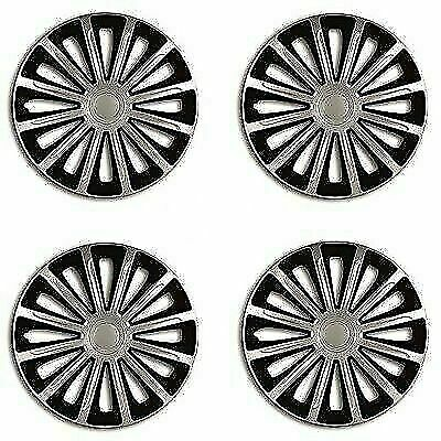 "Wheel Trims 15"" Hub Caps Trend Plastic Covers Set of 4 Silver inset specific fit"