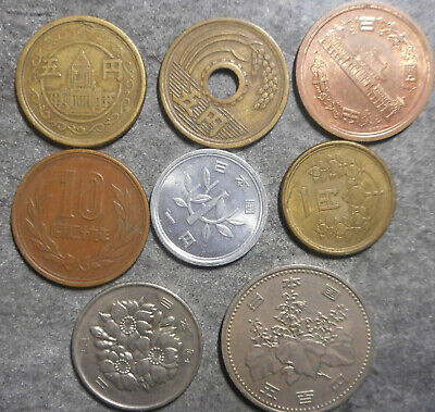 Japan Bulk Lot of 8 coins to 500 yen  coin attractive