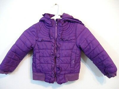 Disney Princess Girls Coat Size XS 4 Purple with Princesses on back Hooded