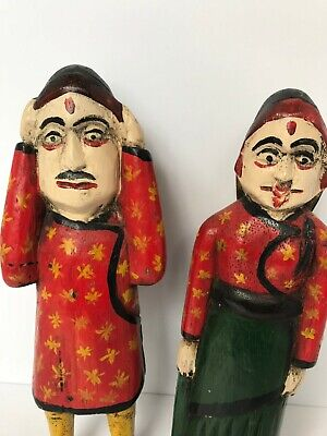 Vintage Wooden Hand-painted Hand Carved Wooden Figures