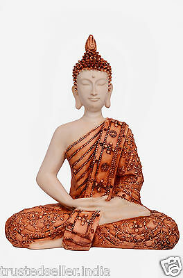 "11"" Big Thai Meditating Buddha Statue Idol Scuplture Handmade Marble Home Decor"