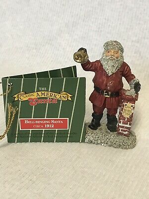 """Classic American Santa, Bell Ringing 1912 Pewter-Novelino, Hand Painted w/Tag 3"""""""