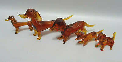 Italian Murano Amber Art Glass Family dachshunds Figurine Figure