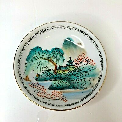 """Vintage Antique Small Chinese Porcelain Plate Painted 4"""" Ring Dish"""