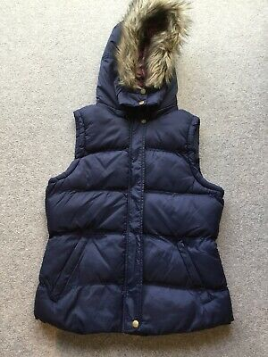 Girls navy blue body warmer with detachable hood age 13
