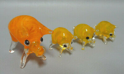 Vintage Italian Murano Orange Art Glass Family Pigs Figurine Figure 4 pcs