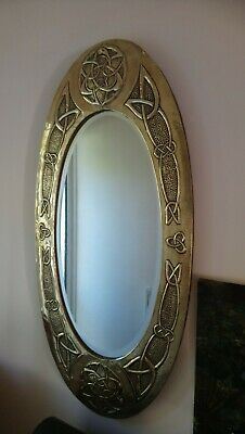 Antique arts and crafts brass Wall mirror, poss Glasgow school,margaret gilmour?