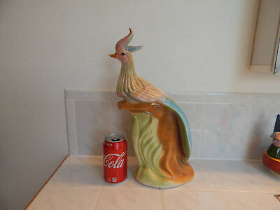 Mid Century ceramic vtg bird of Paradise figure art deco kitsch 50's large 15""