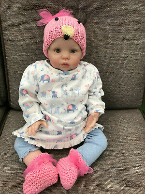 Hand Knitted Hat and booties Newborn, reborn doll.Baby Shower, Flamingo