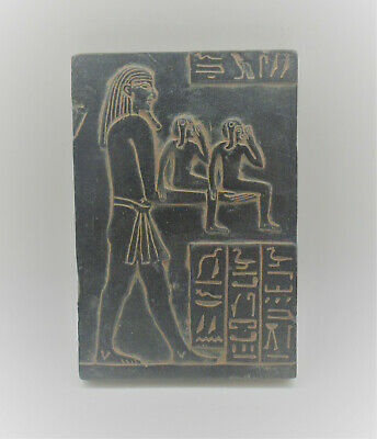Scarce Ancient Egyptian Black Glazed Wall Relief Pharoah And Servants