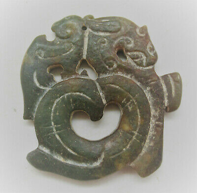 Very Interesting Old Chinese Stone Carved Pendant With Animal Motifs