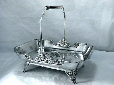 1869 Eastlake Victorian Chsed Sparrow  Meriden Silver  Pastry Server Centerpiece