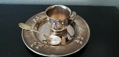 Vtg Silver Plated Childs /Baby Plate, Cup & Spoon..no Markings