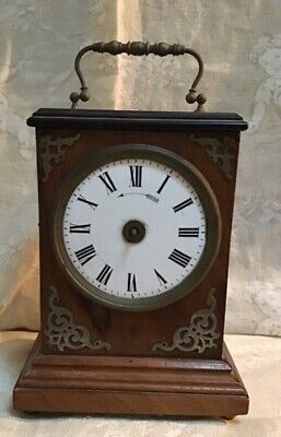EARLY FRENCH WOODEN ALARM CLOCK c1880