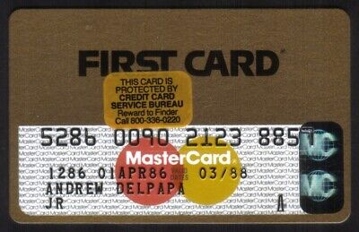 First Card Gold MasterCard: First National Bank of Chicago Credit Card Exp 03/88