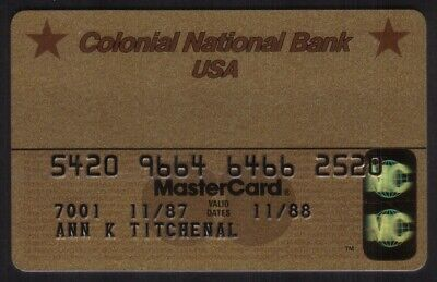 Colonial National Bank USA Gold MasterCard Credit Card Exp 11/88
