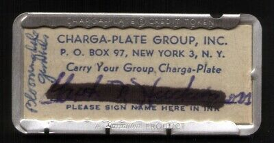 Charga-Plate Group New York (Used in Bloomingdales & Gimbels) Metal Charge Plate
