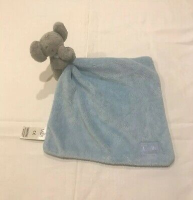 M&S, Marks And Spencer Baby Comforter, Blue Elephant, With Love