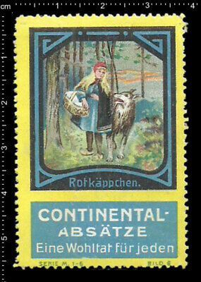 German Poster Stamp Cinderella Vignette, Fairy Tales Little Red Riding Hood Wolf