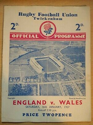 England v Wales Rugby Union Programme 1937