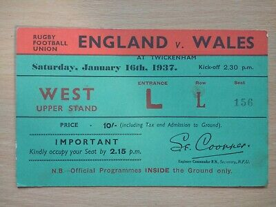 England v Wales Rugby Union Ticket 1937