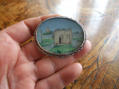 Antique Victorian Indian Hand Painted Miniature Silver Brooch
