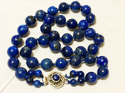CHINESE NATURAL BLUE LAPIS 10mm BEAD NECKLACE, Silver Clasp, 75 grams