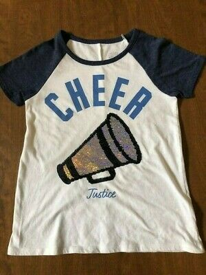 Justice Cheer Sequin Flip Short Sleeve Shirt Size 8 Blue White Silver EUC!