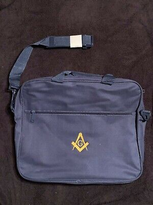 New Blue MASONIC Messenger TOTE BAG - ZIPPERED TOP - IMPRINTED LOGO on One Side