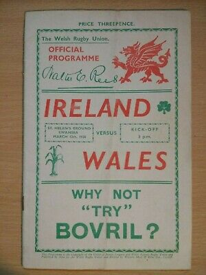 Wales v Ireland Rugby Union Programme 1939