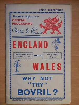 Wales v England Rugby Union Programme 1938