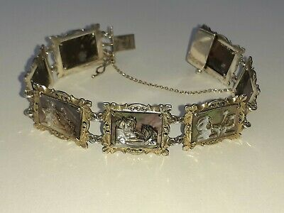 Victorian 1800s Silver Mother Of Pearl marcasite Panel Bracelet roman scenes