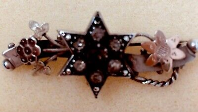Antique Victorian Solid Sterling Silver Rose Gold Six Ray Star Paste Brooch Pin