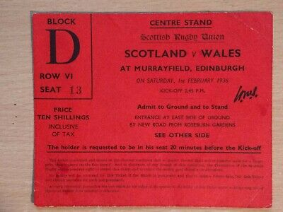 Scotland v Wales Rugby Union Ticket 1936