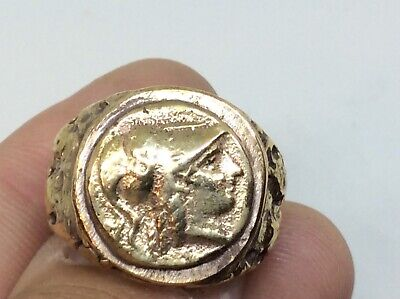 Fantastic Antique Gold/bronze Soldier Intaglio Bust Ring Size S Very Rear Old