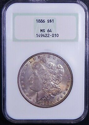 1886 Morgan Dollar RAINBOW TONED NGC MS64 OLD Holder Very Nice Silver Coin!