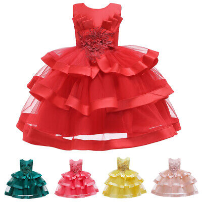 Formal Girls Dress Tutu Tulle Princess Pageant Kids Prom Bridesmaid Party Gowns