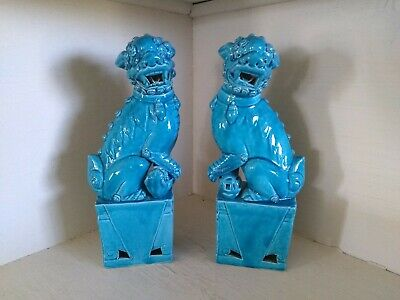 Vtg Antique Chinese Porcelain Turquoise ceramic Pair Of foo dogs one repaired