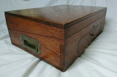 "Antique Edwardian Portable Writing Slope Lap Desk Box 15""x11"""