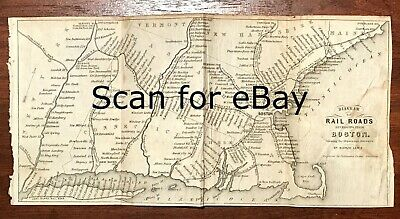 AUTHENTIC 1846 BOSTON Massachusetts RAILROAD MAP ~ DETAILED ORIGINAL ~ SCARCE!