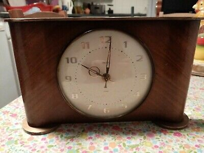 Vintage Smiths  8 Day Wind Up Mantle Clock With Floating Balance