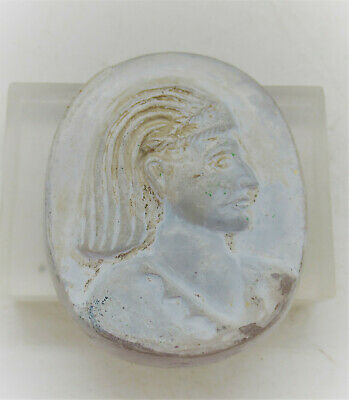 Ancient Sasanian Stone Cameo Depiction Of Ruler Once Used As Pendant