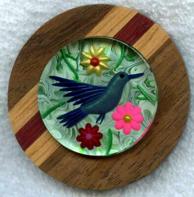 Humming Bird Reverse Hand Carved Lucite and Wood Studio Button Size 2 1/4""