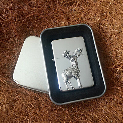 Star Cigarette Lighter /w Pewter Monarch Stag Deer Emblem FREE Gift Tin