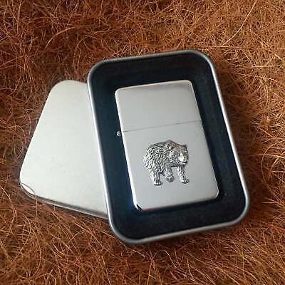 Star Cigarette Lighter /w Pewter Bear Nature Emblem FREE Gift Tin